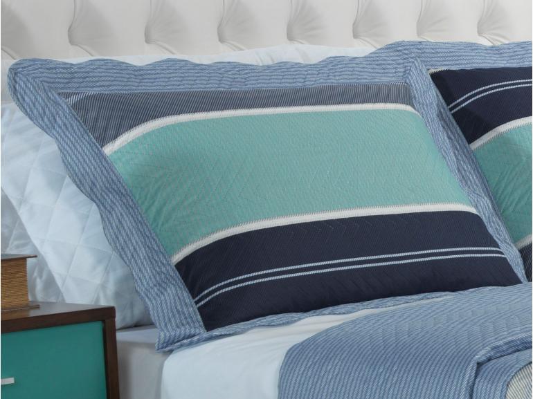 Kit: 1 Cobre-leito Casal Bouti de Microfibra Ultrasonic Estampada + 2 Porta-travesseiros - Manolo Azul - Dui Design