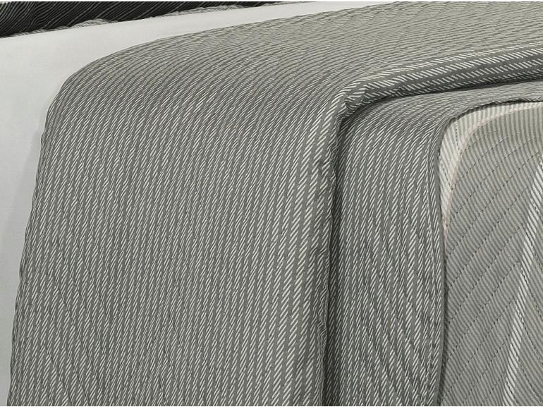Kit: 1 Cobre-leito Casal Bouti de Microfibra Ultrasonic Estampada + 2 Porta-travesseiros - Manolo Cinza - Dui Design