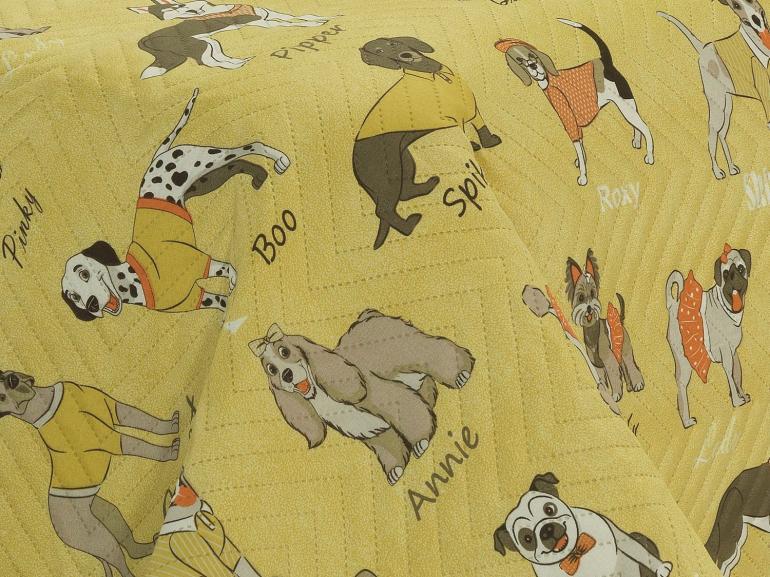Kit: 1 Cobre-leito Casal Kids Bouti de Microfibra PatchWork Ultrasonic + 2 Porta-travesseiros - Many Dogs Amarelo - Dui Design