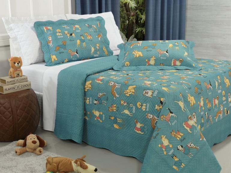 Kit: 1 Cobre-leito Casal Kids Bouti de Microfibra PatchWork Ultrasonic + 2 Porta-travesseiros - Many Dogs Azul - Dui Design
