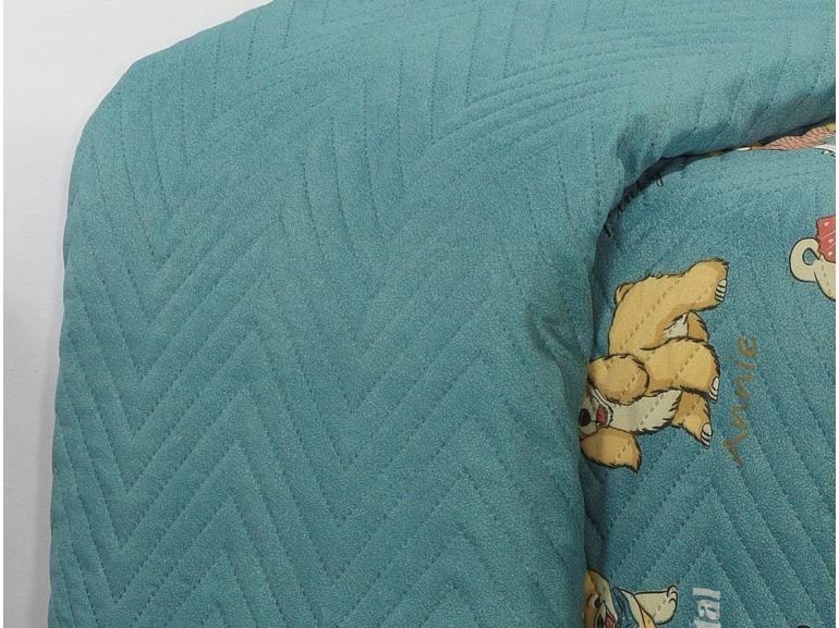 Kit: 1 Cobre-leito Solteiro Kids Bouti de Microfibra PatchWork Ultrasonic + 1 Porta-travesseiro - Many Dogs Azul - Dui Design