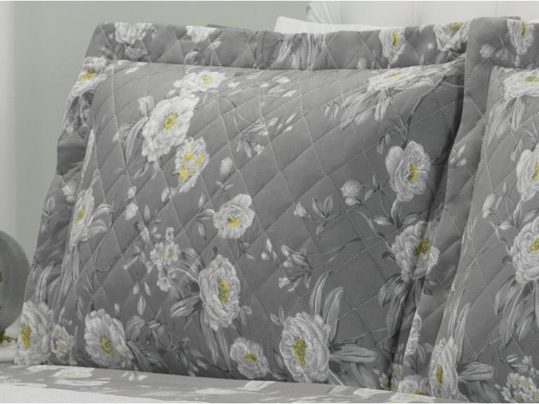 Kit: 1 Cobre-leito Queen + 2 Porta-travesseiros 180 fios - Mara Cinza - Dui Design