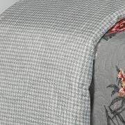 Kit: 1 Cobre-leito Queen Bouti de Microfibra Ultrasonic Estampada + 2 Porta-travesseiros - Marcela Cinza - Dui Design