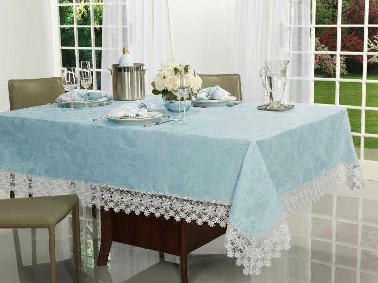 Toalha de Mesa com Bordado Guipir Fácil de Limpar Quadrada 8 Lugares 220x220cm - Margareth Azul e Branco - Dui Design
