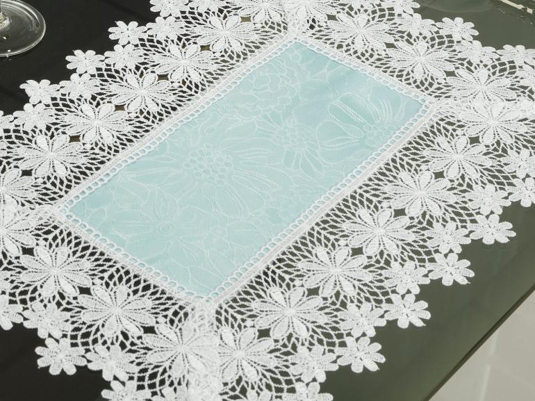 Jogo Americano 4 Lugares (4 peças) com Bordado Guipir Fácil de Limpar 35x50cm - Margareth Azul e Branco - Dui Design