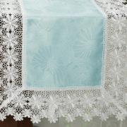 Trilho de Mesa com Bordado Guipir Fácil de Limpar 45x170cm Avulso - Margareth Azul e Branco - Dui Design