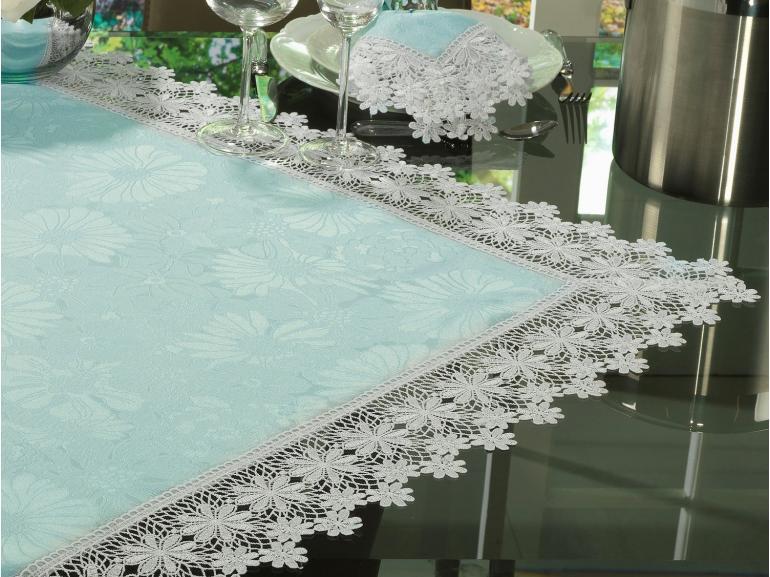 Centro de Mesa com Bordado Guipir Fácil de Limpar 85x85cm Avulso - Margareth Azul e Branco - Dui Design
