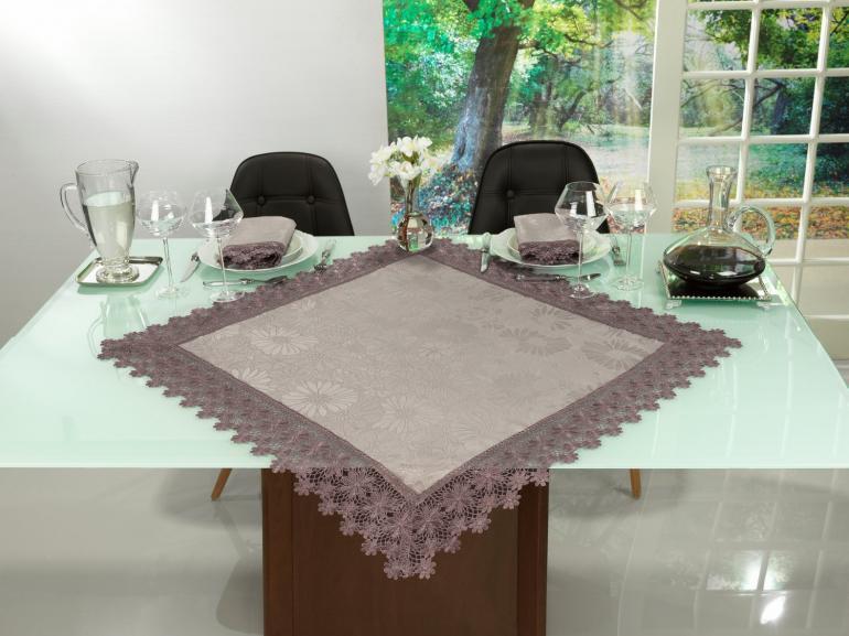 Centro de Mesa com Bordado Guipir Fácil de Limpar 85x85cm Avulso - Margareth Noz Moscada - Dui Design