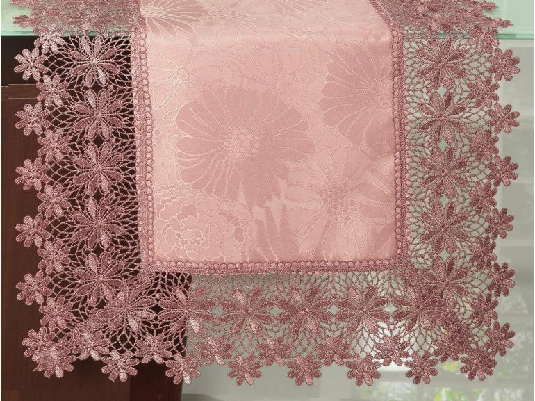 Trilho de Mesa com Bordado Guipir Fácil de Limpar 45x170cm Avulso - Margareth Rosa Velho - Dui Design