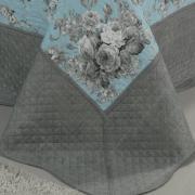 Kit: 1 Cobre-leito Solteiro Bouti de Microfibra Ultrasonic Estampada + 1 Porta-travesseiro - Margot Azul - Dui Design