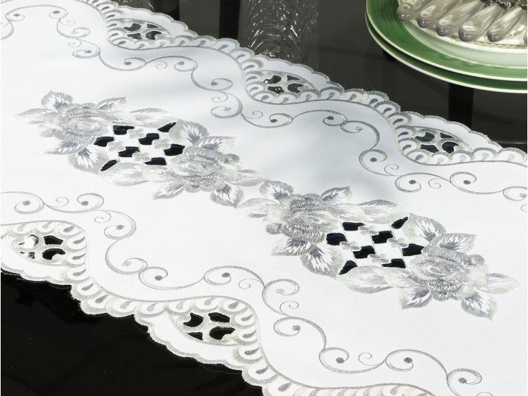 Trilho de Mesa com Bordado Richelieu 40x85cm Avulso - Margot Branco e Gelo - Dui Design