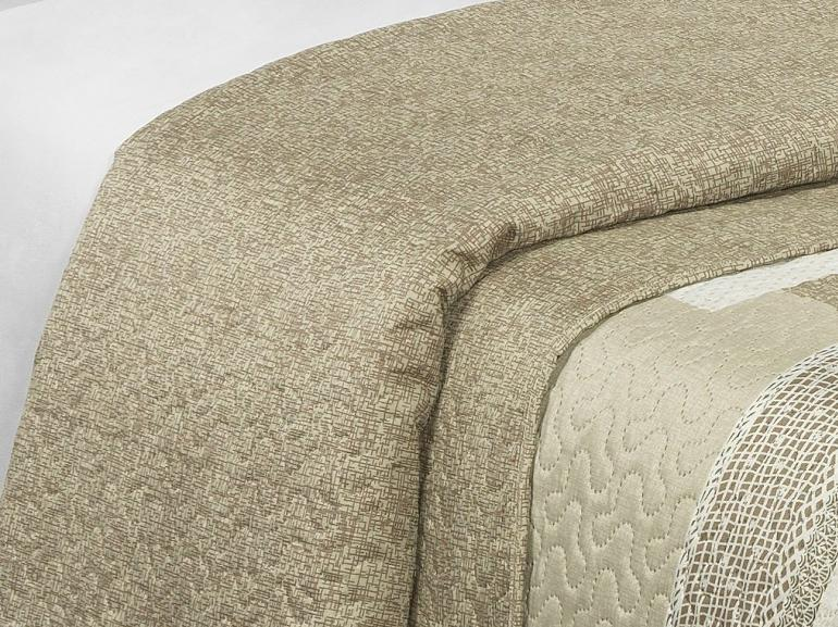 Kit: 1 Cobre-leito Casal Bouti de Microfibra Ultrasonic Estampada + 2 Porta-travesseiros - Mariana Bege - Dui Design