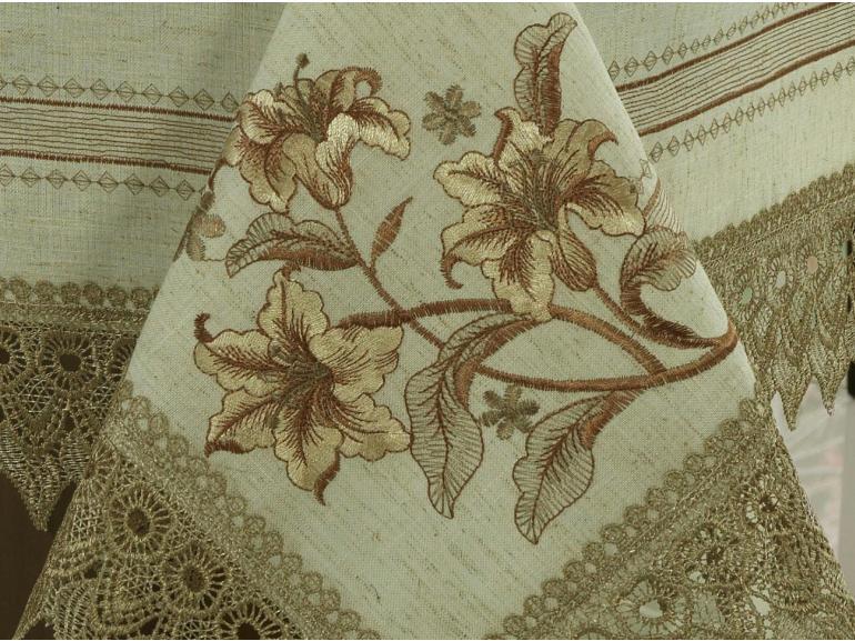 Toalha de Mesa com Bordado Richelieu Quadrada 4 Lugares 160x160cm - Mariana Bege e Castanho - Dui Design