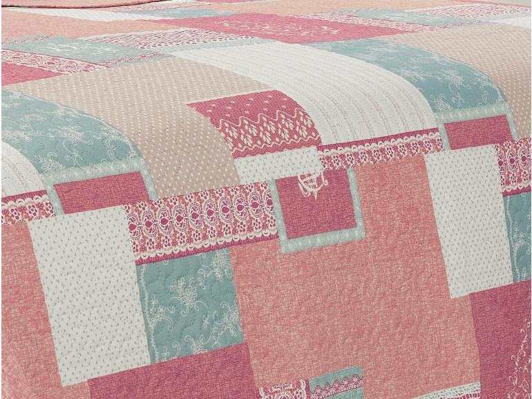 Kit: 1 Cobre-leito Solteiro Bouti de Microfibra Ultrasonic Estampada + 1 Porta-travesseiro - Mariana Mauve - Dui Design