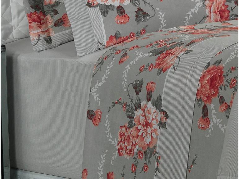 Jogo de Cama Casal 150 fios - Marilda Cinza - Dui Design