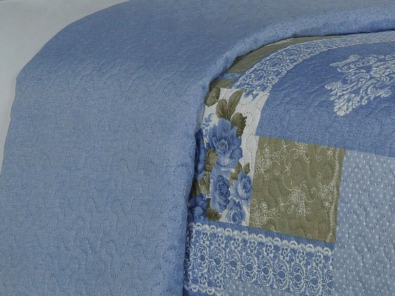 Kit: 1 Cobre-leito Casal Bouti de Microfibra Ultrasonic Estampada + 2 Porta-travesseiros - Marion Azul - Dui Design
