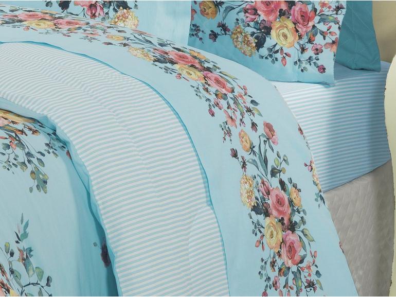 Edredom Solteiro Percal 200 fios - Maris Azul - Dui Design