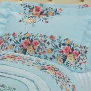Kit: 1 Cobre-leito Solteiro + 1 Porta-travesseiro Percal 200 fios - Maris Azul - Dui Design