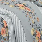 Kit: 1 Cobre-leito Solteiro + 1 Porta-travesseiro Percal 200 fios - Maris Cinza - Dui Design