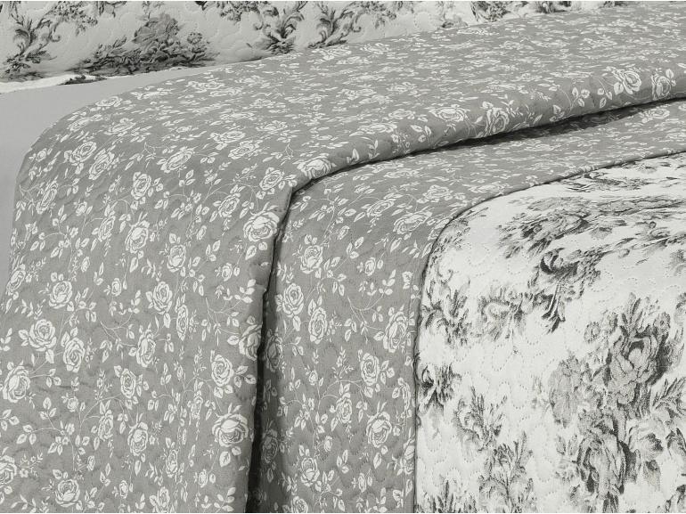 Kit: 1 Cobre-leito Queen Bouti de Microfibra Ultrasonic Estampada + 2 Porta-travesseiros - Marlene Cinza - Dui Design