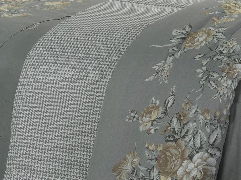 Edredom Solteiro Percal 180 fios - Marlene Cinza - Dui Design