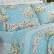 Kit: 1 Cobre-leito King + 2 Porta-travesseiros 150 fios - Marlete Azul - Dui Design