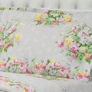 Kit: 1 Cobre-leito King + 2 Porta-travesseiros 150 fios - Marlete Cinza - Dui Design