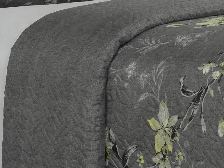 Kit: 1 Cobre-leito Casal Bouti de Microfibra Ultrasonic Estampada + 2 Porta-travesseiros - Marlis Cinza - Dui Design