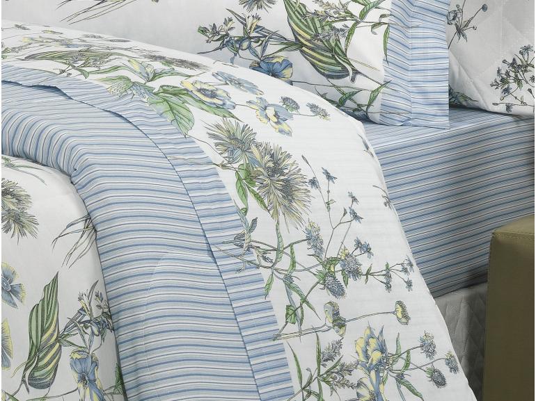 Jogo de Cama Casal 150 fios - Marnie Azul - Dui Design