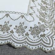 Jogo de Cama Queen Percal 200 fios com Bordado Inglês - Marselha Branco e Bege - Dui Design