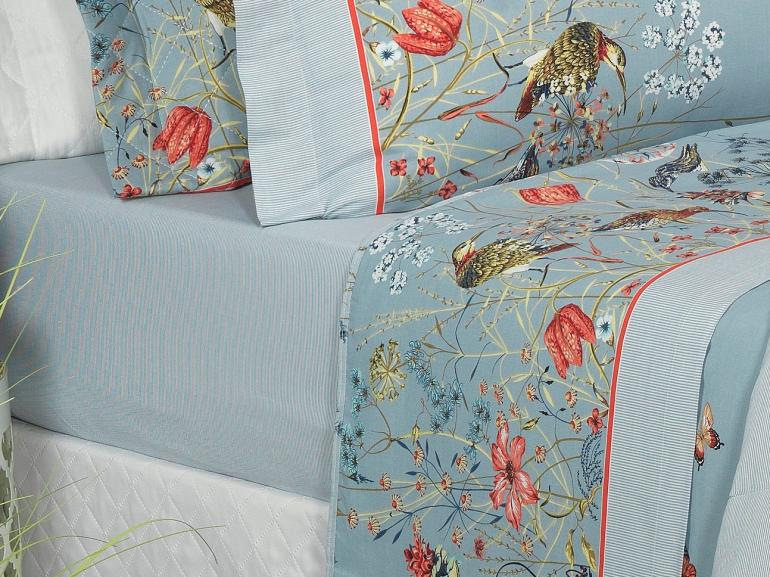 Jogo de Cama Casal 150 fios - Marta Azul - Dui Design