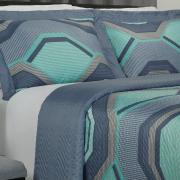 Kit: 1 Cobre-leito Casal Bouti de Microfibra Ultrasonic Estampada + 2 Porta-travesseiros - Martin Azul - Dui Design