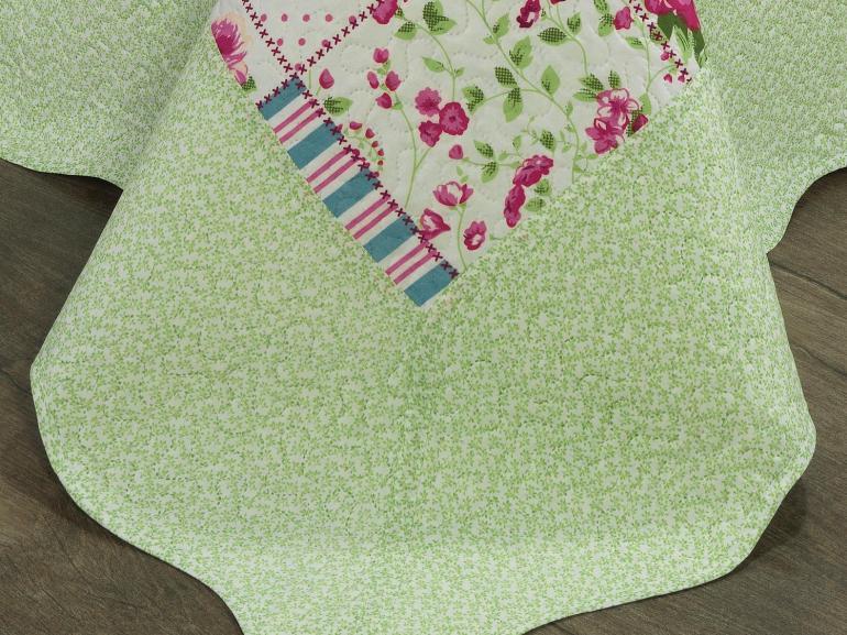 Kit: 1 Cobre-leito Casal Bouti de Microfibra Ultrasonic Estampada + 2 Porta-travesseiros - Mary Jane Rosa - Dui Design