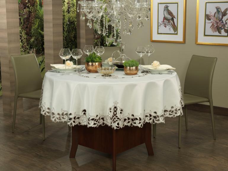 Toalha de Mesa  com Bordado Richelieu Redonda 175cm - Mary Natural Caqui - Dui Design