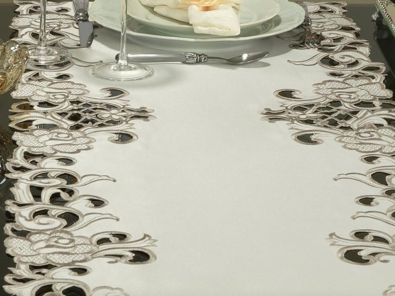 Trilho de Mesa com Bordado Richelieu 45x170cm Avulso - Mary Natural Caqui - Dui Design