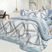 Edredom Casal Percal 200 fios - Math Azul - Dui Design