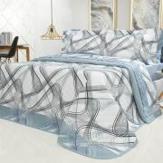 Kit: 1 Cobre-leito Casal + 2 Porta-travesseiros Percal 200 fios - Math Azul - Dui Design
