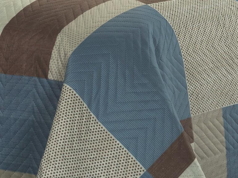 Kit: 1 Cobre-leito Casal Bouti de Microfibra Ultrasonic Estampada + 2 Porta-travesseiros - Maxime Azul - Dui Design