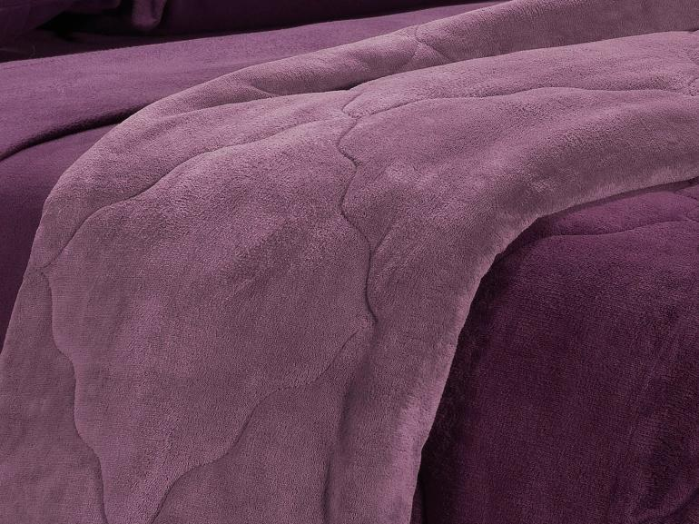 Edredom Casal Plush  - Maxy Ameixa e Mauve - Dui Design