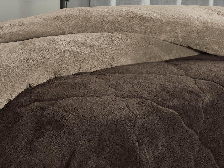 Edredom Plush Queen  - Maxy Chocolate Amendoa - Dui Design