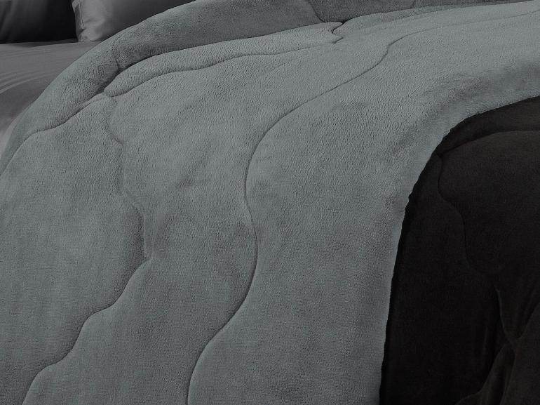 Edredom Solteiro Plush - Maxy Preto e Grafite - Dui Design