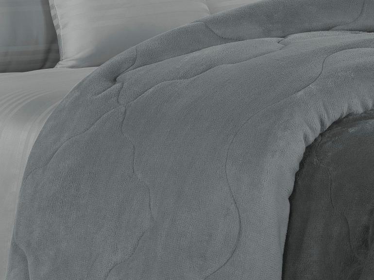 Edredom Queen Plush  - Maxy Grafite e Cinza - Dui Design
