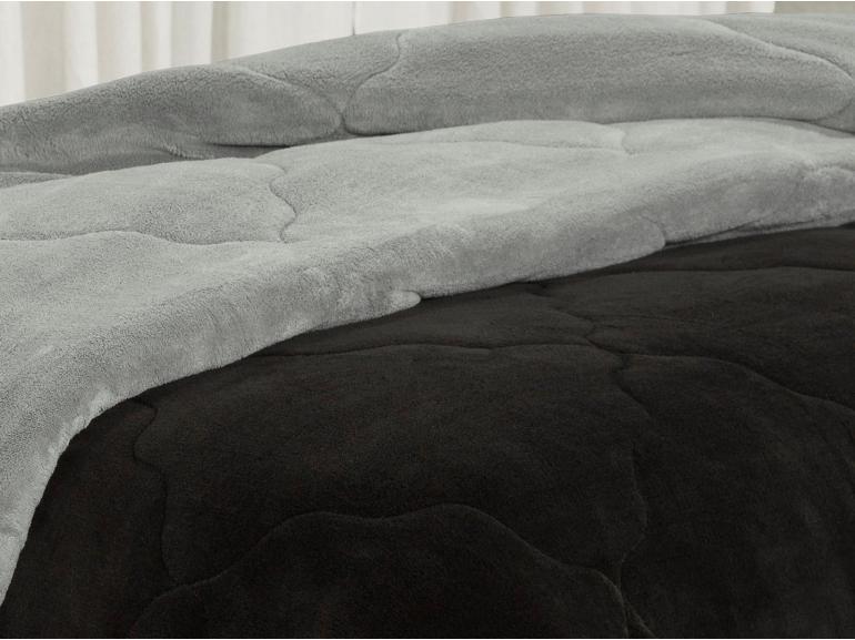 Edredom Queen Plush  - Maxy Preto e Cinza - Dui Design