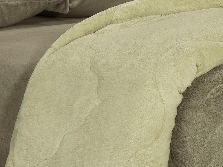 Edredom Casal Plush  - Maxy Taupe e Bege - Dui Design