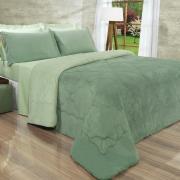 Edredom Solteiro Plush - Maxy Verde Granite e Verde Cameo - Dui Design
