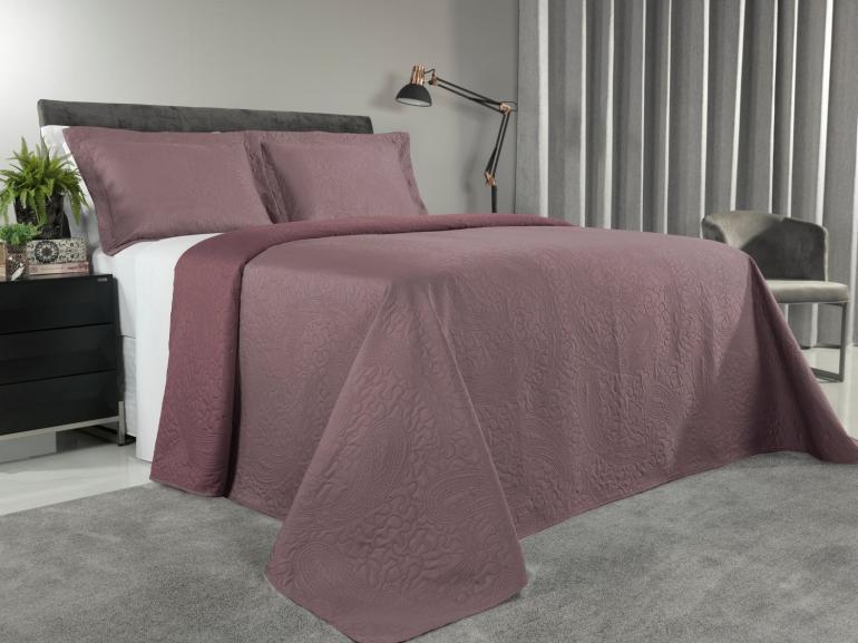 Kit: 1 Cobre-leito Casal Bouti de Microfibra Ultrasonic + 2 Porta-travesseiros - Maya Uva - Dui Design