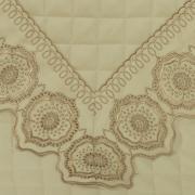Jogo de Cama Queen Cetim de Algodão 300 fios com Bordado Inglês - Medallion Marfim e Bege  - Dui Design