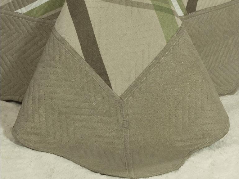 Kit: 1 Cobre-leito Casal Bouti de Microfibra Ultrasonic Estampada + 2 Porta-travesseiros - Medelin Castanho - Dui Design