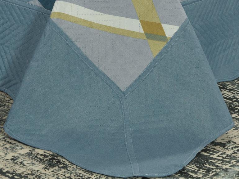 Kit: 1 Cobre-leito King Bouti de Microfibra Ultrasonic Estampada + 2 Porta-travesseiros - Medelin Indigo - Dui Design
