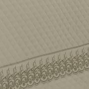 Kit: 1 Cobre-leito King + 2 porta-travesseiros Cetim de Algodão 300 fios com Bordado Inglês - Medici Bege - Dui Design